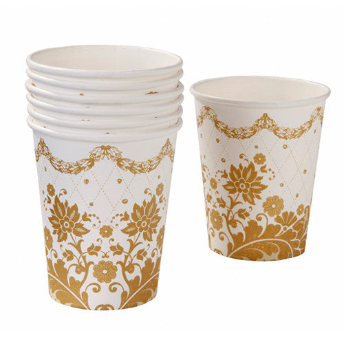 Gold Paper Cups with a gold floral design perfect for a princess birthday tea party.