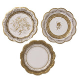 Gold Plates Small - Gold Paper plates with a gold floral design perfect for a princess birthday tea party.
