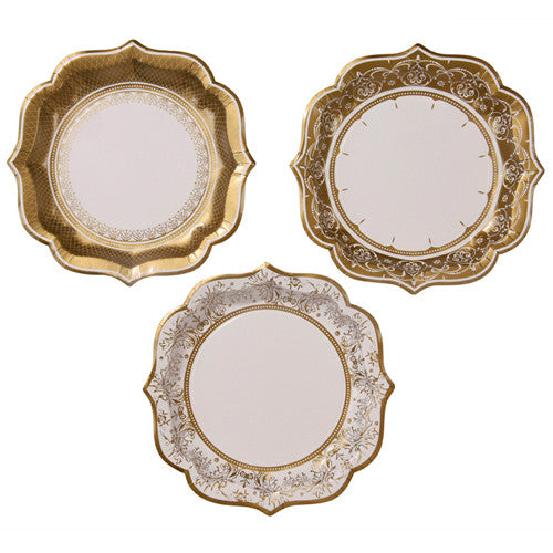 Gold Paper plates with a gold floral design perfect for a princess birthday tea party.