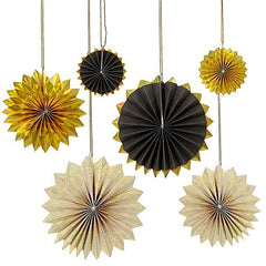 Gold & Black Pinwheel hanging Decorations