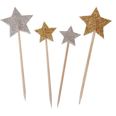 Gold and Silver Glitter Star Picks