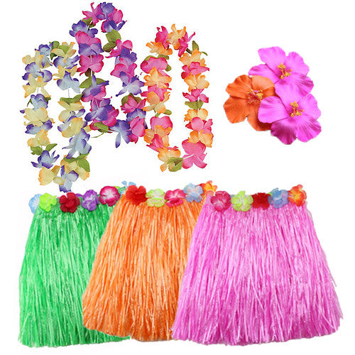 Girl Hawaiian Hula Skirt Set (18pc)