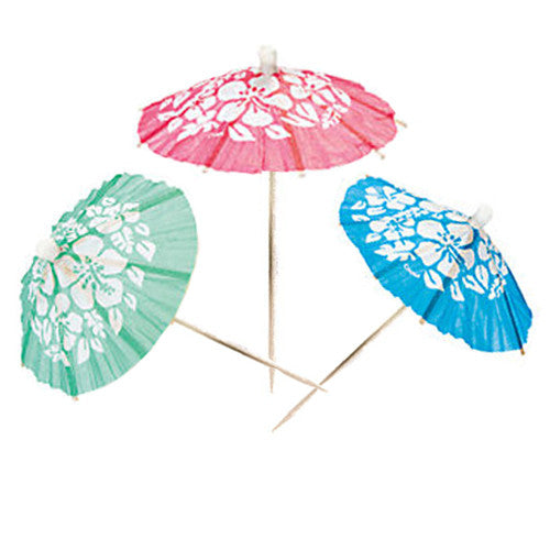 Hibiscus Parasols Picks Green Pink Blue