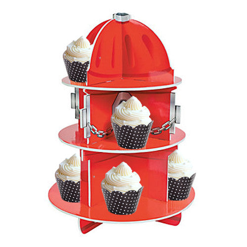 Red Fire Hydrant Cupcake Stand perfect for firefighter birthday party