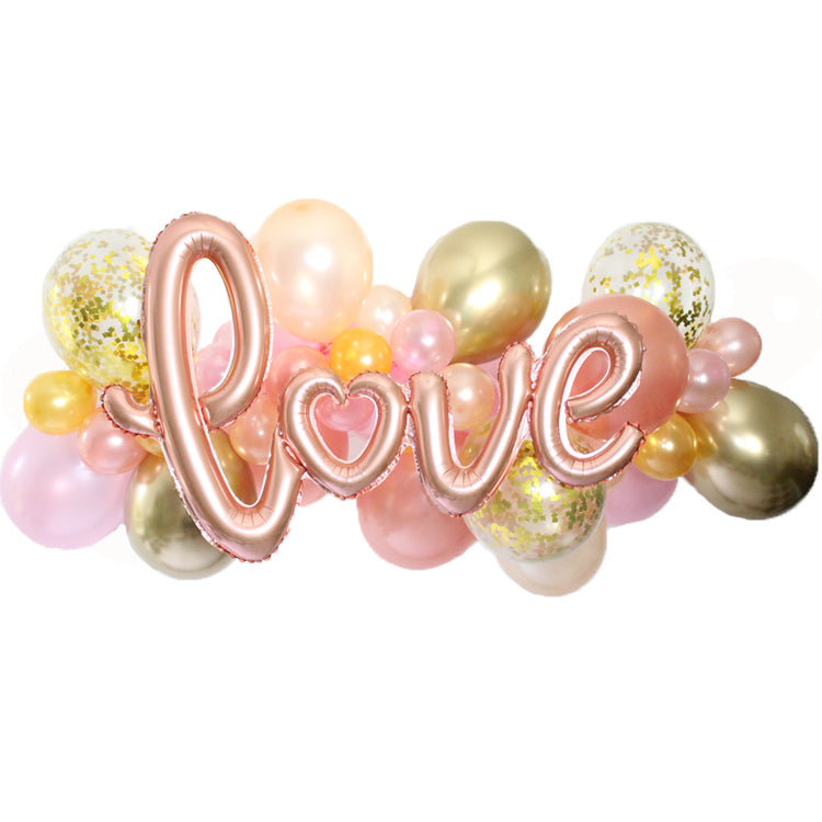 Love Rose Gold Balloon Garland