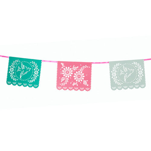 Mexican Fiesta banner with laser cut flower and bird designs