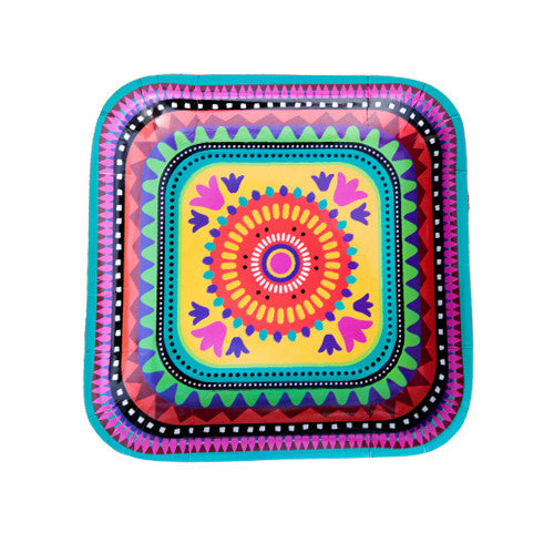 Mexican square Fiesta plates ideal for a Mexican fiesta party