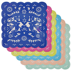 Mexican Plates in assorted colors navy, yellow, pink, light blue, teal and peach