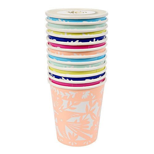 Mexican Fiesta Cups in assorted colors navy, yellow, pink, light blue, teal and peach