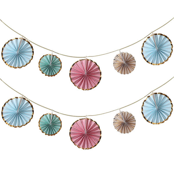 Mini Pinwheel Banner in gold blue red and green