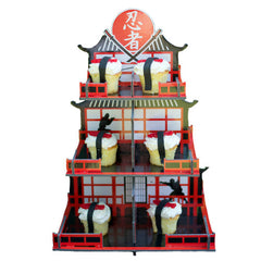 3 tiered Ninja Cupcake party Stand with a red and black japanese pagoda design