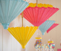 Pink, blue and yellow Parasols