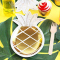 Gold Pineapple shape party plates, perfect for a tropical or flamingo birthday party.