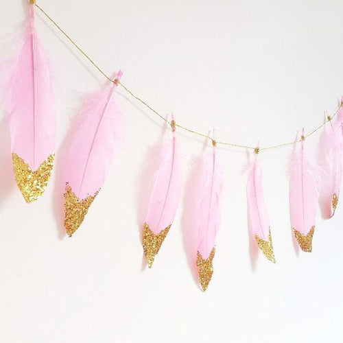 Pink & Gold Feather Garland