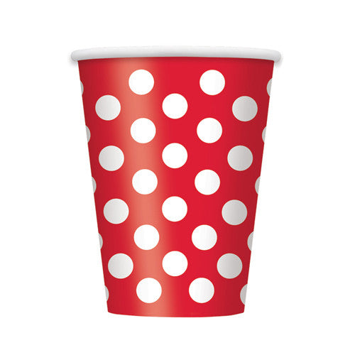 red Polka dot party cups Plates, Cups & Napkins Red Ladybug Party Pirate Party Be my Valentine Party Carnival - Circus Party