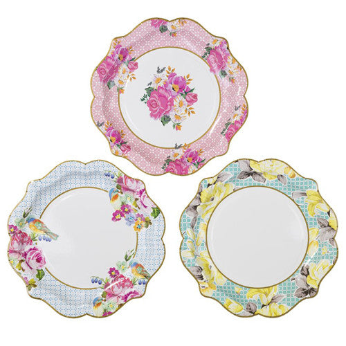 Tea Party birthday plates with floral and bird design featuring colors such as pink, blue and yellow