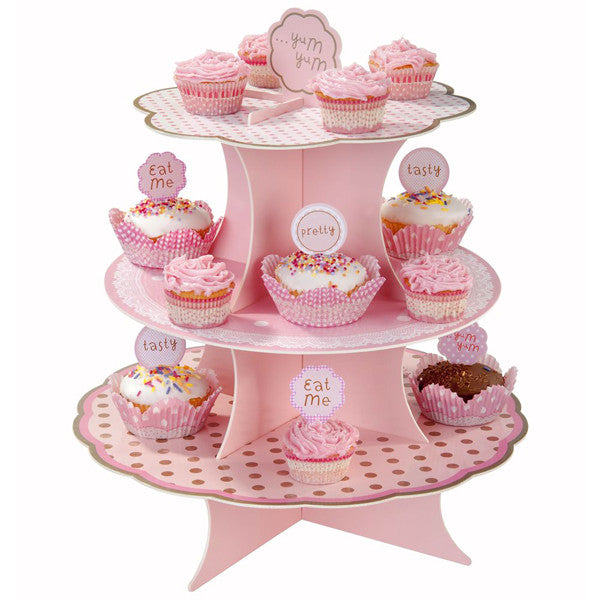 Pink three tiers tea party cupcake stand