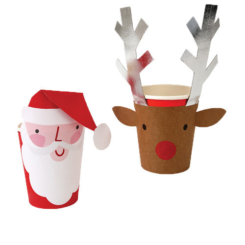 Santa & Reindeer Party Cups