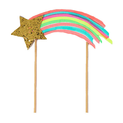 Shooting Star cake topper is perfect for a rainbow and unicorn birthday party.