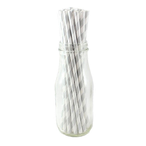 Paper Straws Silver White Bridal Party Bridal Showers