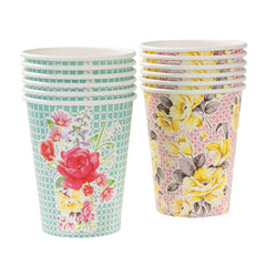 Tea Party cupss with 2 floral design, ideal for a tea party birthday party