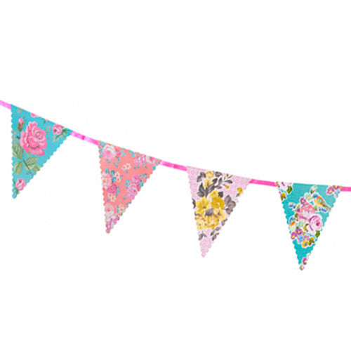 Tea Party Floral Flag Banner
