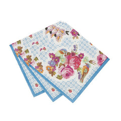 Tea Party Napkins featuring a blue and pink floral and bird design