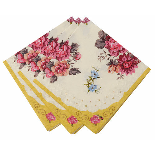 Tea Party Napkins featuring a floral design, ideal for a tea party birthday party