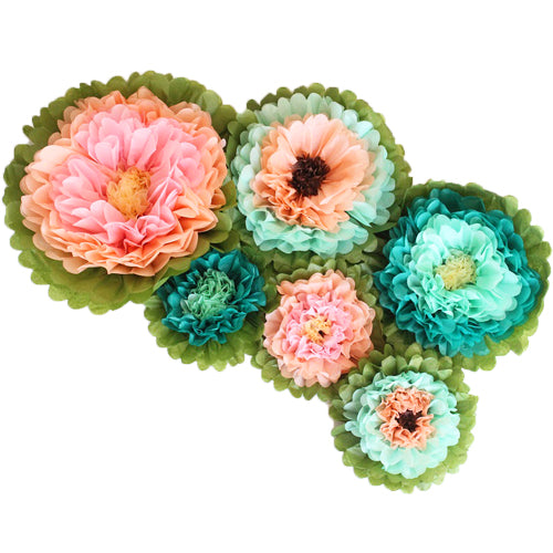 Vintage Tissue Paper Flower Set (6 per Pack)