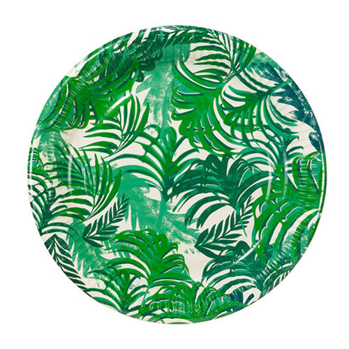 Tropical Plates with green palm tree design