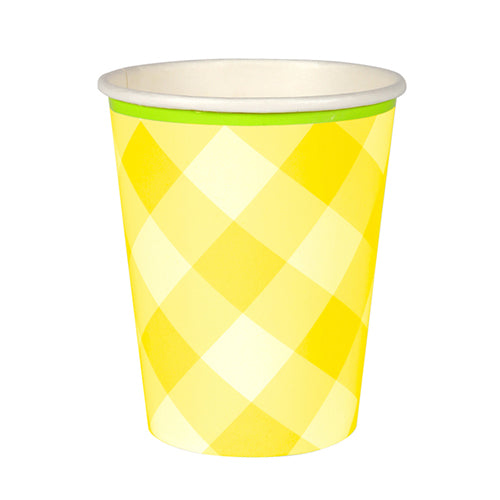 Yellow Gingham Party Cups