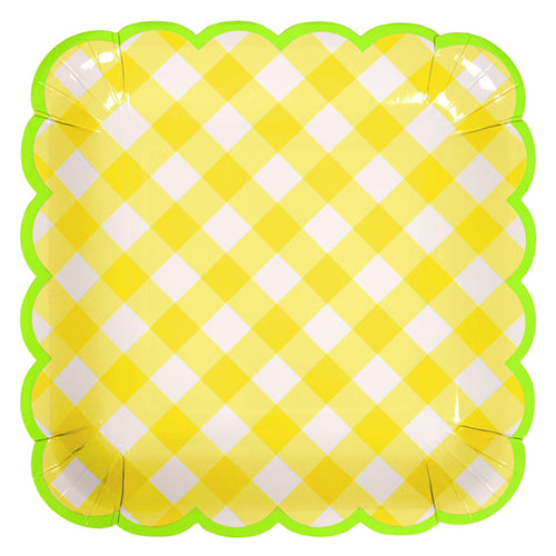 Yellow Gingham Party Plates