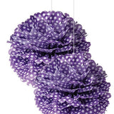 Polka Dot Pom Pom - Purple - 15 Inches - Pom poms Purple Polka Dot