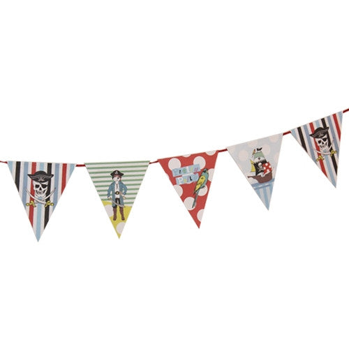 Pirate party flag banner decoration with pirates and pirate ships illustrations.