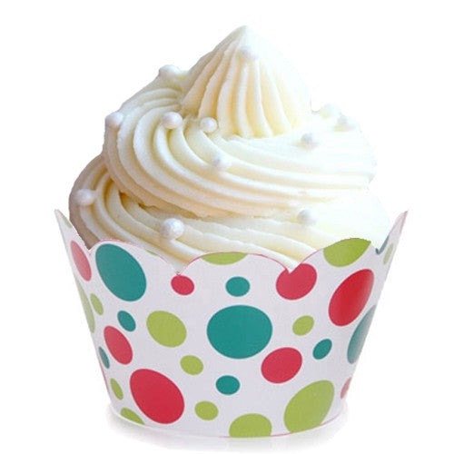Christmas red and green polka dot cupcake wrapper