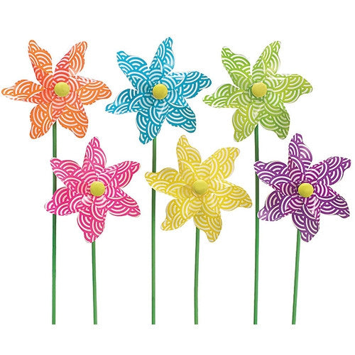 White swirl pattern pinwheel picks in sturdy plastic with wooden sticks featuring color such as orange blue green pink yellow purple