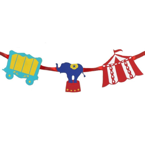 Circus party Banner featuring an Elephant, a Wagon and a Circus Tent.