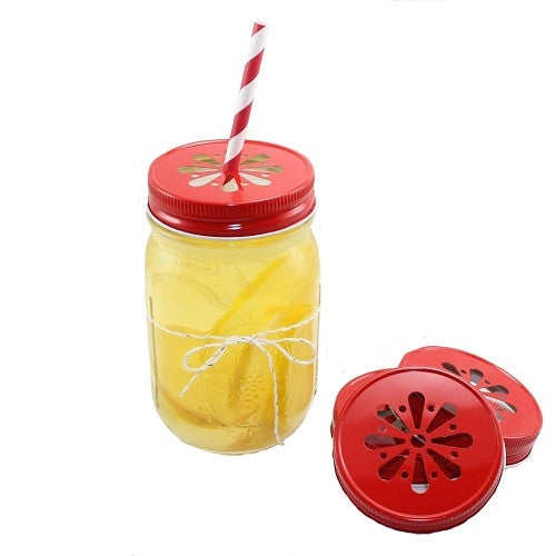 Daisy Cut Mason Jar Lids- Red