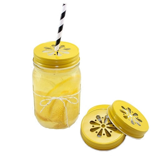 Daisy Cut Mason Jar Lids- Yellow