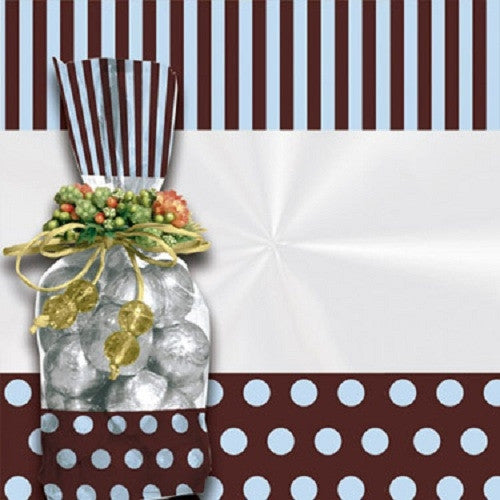Treat Bags -Dots & Stripes - Blue & Brown (25 per Pack)