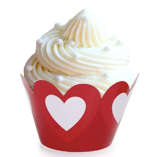 red and white heart cupcake wrappers