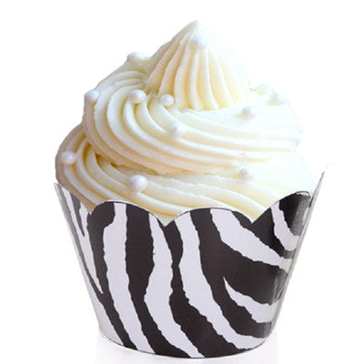 black and white zebra cupcake wrappers