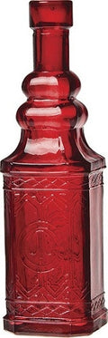 Vintage Glass Bottle - Square - Red