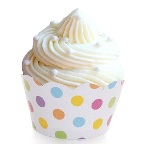 Cupcake wrappers with a pastel polka dot design