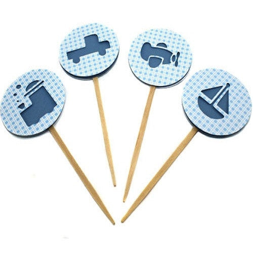 Cupcake Toppers - Baby Blue Transportation