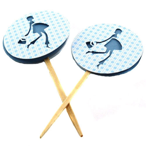 Cupcake Toppers - Chic Pregnant Lady - Baby Blue (Set of 12)