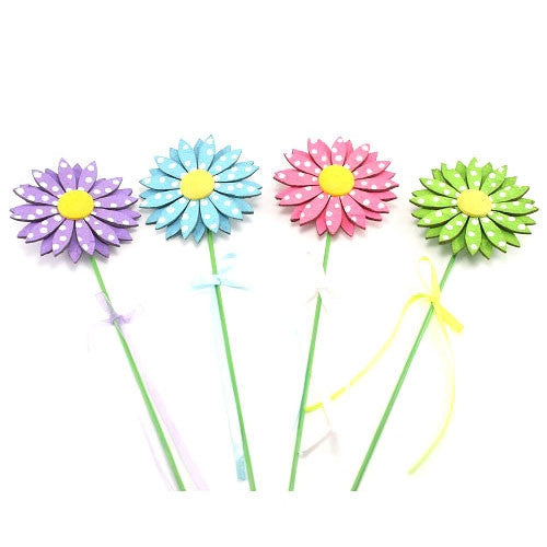 polka dot flower picks purple blue pink green