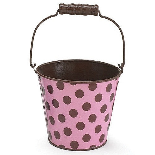 Pail Tin - Polka Dots - Pink & Brown