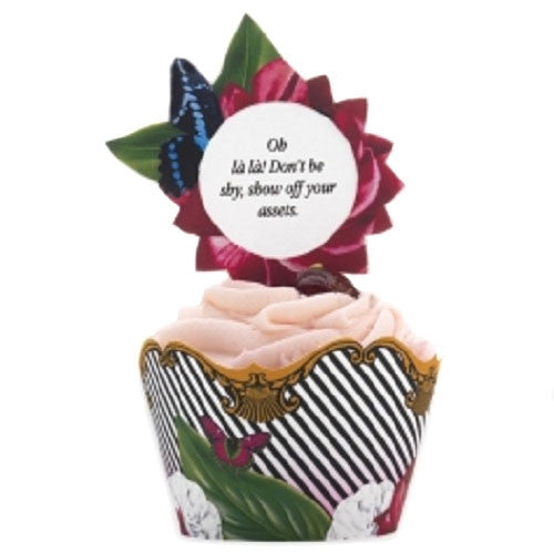 Black and white striped Cupcake wrappers with cupcake toppers featuring a floral design and butterflies Cupcake Kit