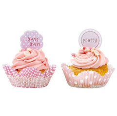 Pink cupcake liners and toppers with polka dot and gingham design